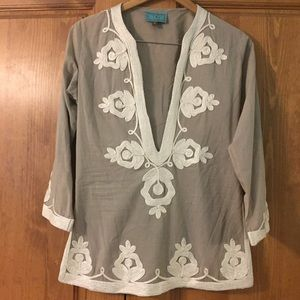 NWOT Taj by Sabrina crippa embroidered tunic top